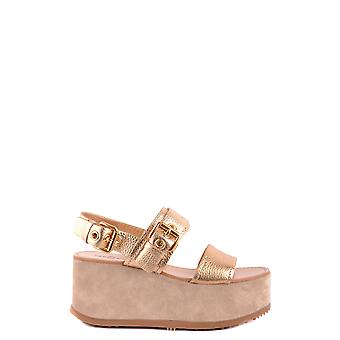 Car Shoe Gold Leather Wedges