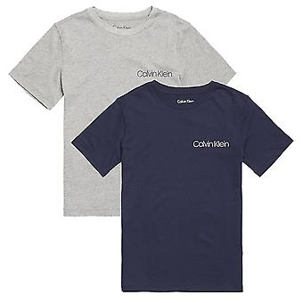 Calvin Klein Boys 2 Pack autoperforering korte ermer Crew-hals t-skjorte, lyng grå / blå skygge, Medium