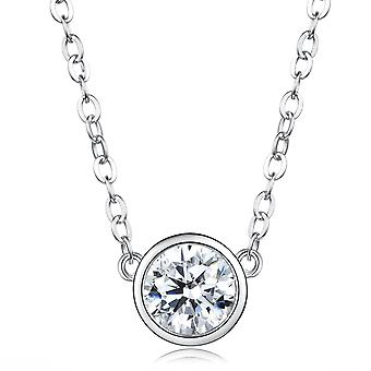 925 Sterling Silver Bezel Round Cut Aaaaa Cz Pendant Necklace
