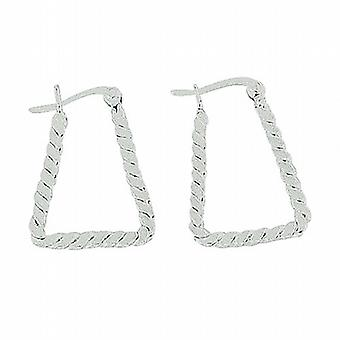 TOC Sterling Silver Rope Design Handbag Creole Earrings 16mm