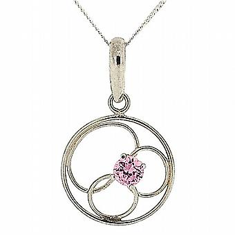 TOC Sterling Silver Pink CZ Round Flower Pendant Necklace 18