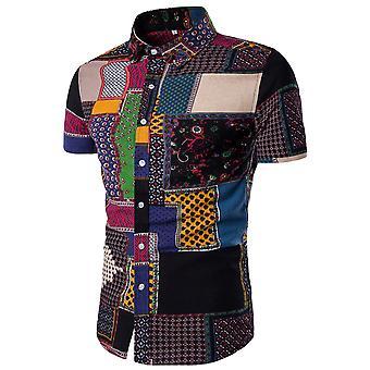 Allthemen hommes à manches courtes chemise coton floral chemise décontractée