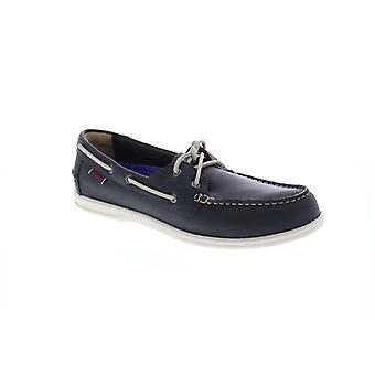 Sebago Naples  Mens Gray Leather Deck Casual Lace Up Boat Shoes