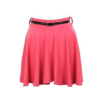 Dames Belted geplooide Schaatser Flared Jersey Party Dress Women Rok