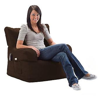 Brown Water Resistant Large Bean Bag Relaxing Chair with Matching Footstool