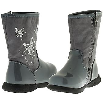 Sara Z Toddler Girls Patent/Matte Boots With Butterflies