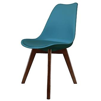 Fusion Living Eiffel Inspired Petrol Blue Plastic Dining Chair With Squared Dark Wood Legs