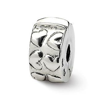 925 Sterling hopea antiikki viimeistely heijastukset saranoitu sydämet Clip helmi charmia