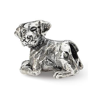 925 Sterling Silber poliert antike Finish Reflexionen Labrador Retriever Perle Charme