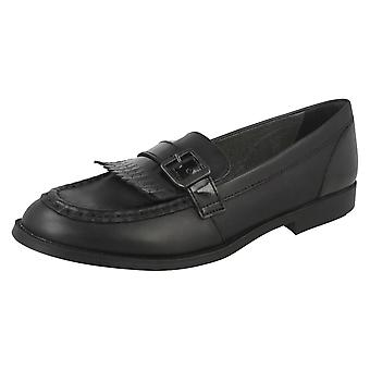 Girls Start Rite Black Leather Loafer Schol Shoes Stowe