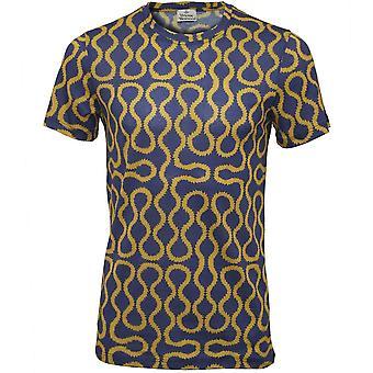 Vivienne Westwood Mercerised Jersey Squiggle Print T-Shirt, Blue/Gold