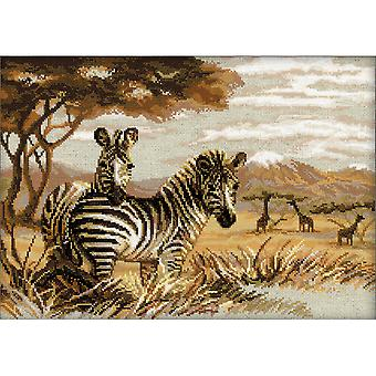 Zebras In The Savannah Counted Cross Stitch Kit 15.75