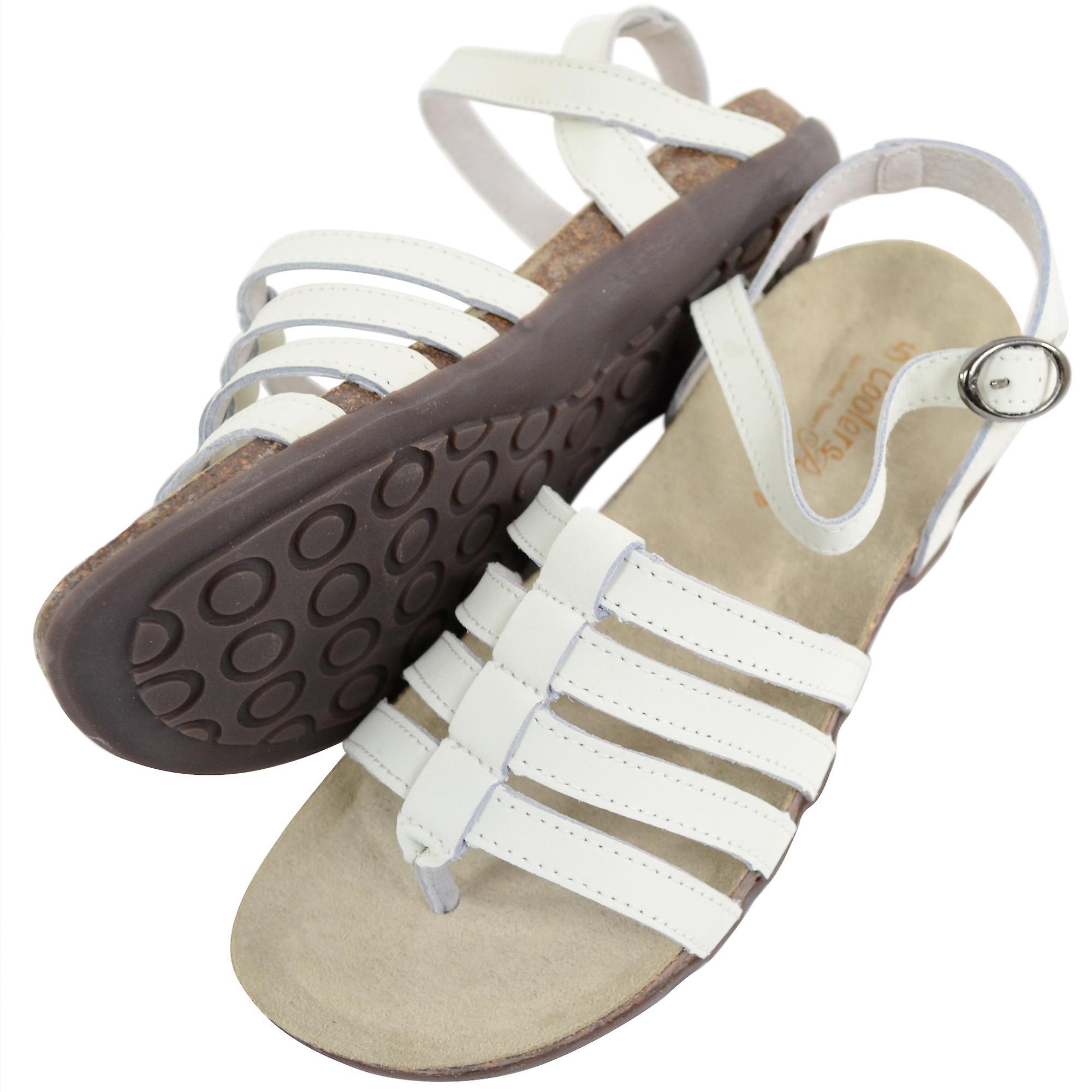 Damen / Damen Leder Sommer / Ferien / Strand geschnallt Sandalen / Schuh - weiß - UK 6