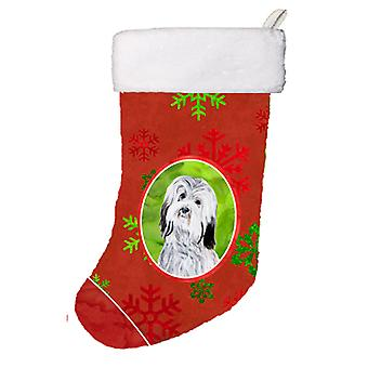 Havanese Red Snowflakes Holiday Christmas Stocking SC9761-CS
