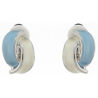 Clip On Earrings Store Light Blue and Ivory Enamel Overlapped Semi Hoop Clip on