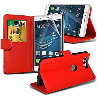 i-Tronixs Huawei P9 Plus PU Leather Wallet Classic Flip Case + Screen Protector Guard -Red