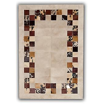 Rugs -Patchwork Leather Cubed Cowhide - SR4 Beige & Brown