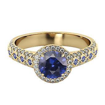 14K Yellow Gold 2.50 ctw Blue Sapphire Ring with Diamonds Vintage Micro Pave Halo
