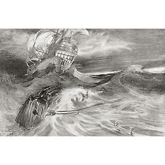 L'olandese volante, una nave fantasma che non può mai fare porta destinata a navigare gli oceani per sempre dal secolo illustrato mensile maggio-ottobre 1904 PosterPrint
