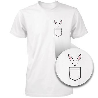 Bunny In Pocket Women's T-shirt Easter Tee Cute Rabbit Pocket Printed Shirt