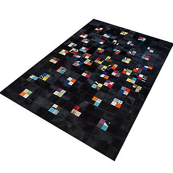 Rugs - Patchwork Leather Black Multi