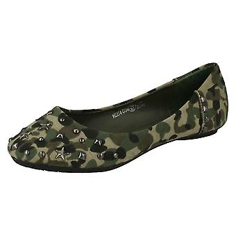 Girls Spot On Studded Ballerina Flats