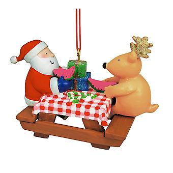 Santa and Reindeer Sitting at Picnic Table Christmas Holiday Ornament 3.5 Inches