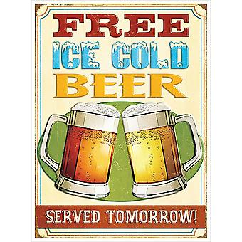 Free Ice Cold Beer Metal Sign 400mm x 300mm (RH)