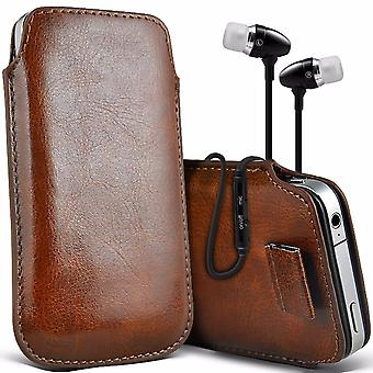 i-Tronixs Premium Stylish Faux Leather Pull Tab Pouch Skin Case Cover with Aluminium Stereo Hands Free Earphone For Vernee Thor (5