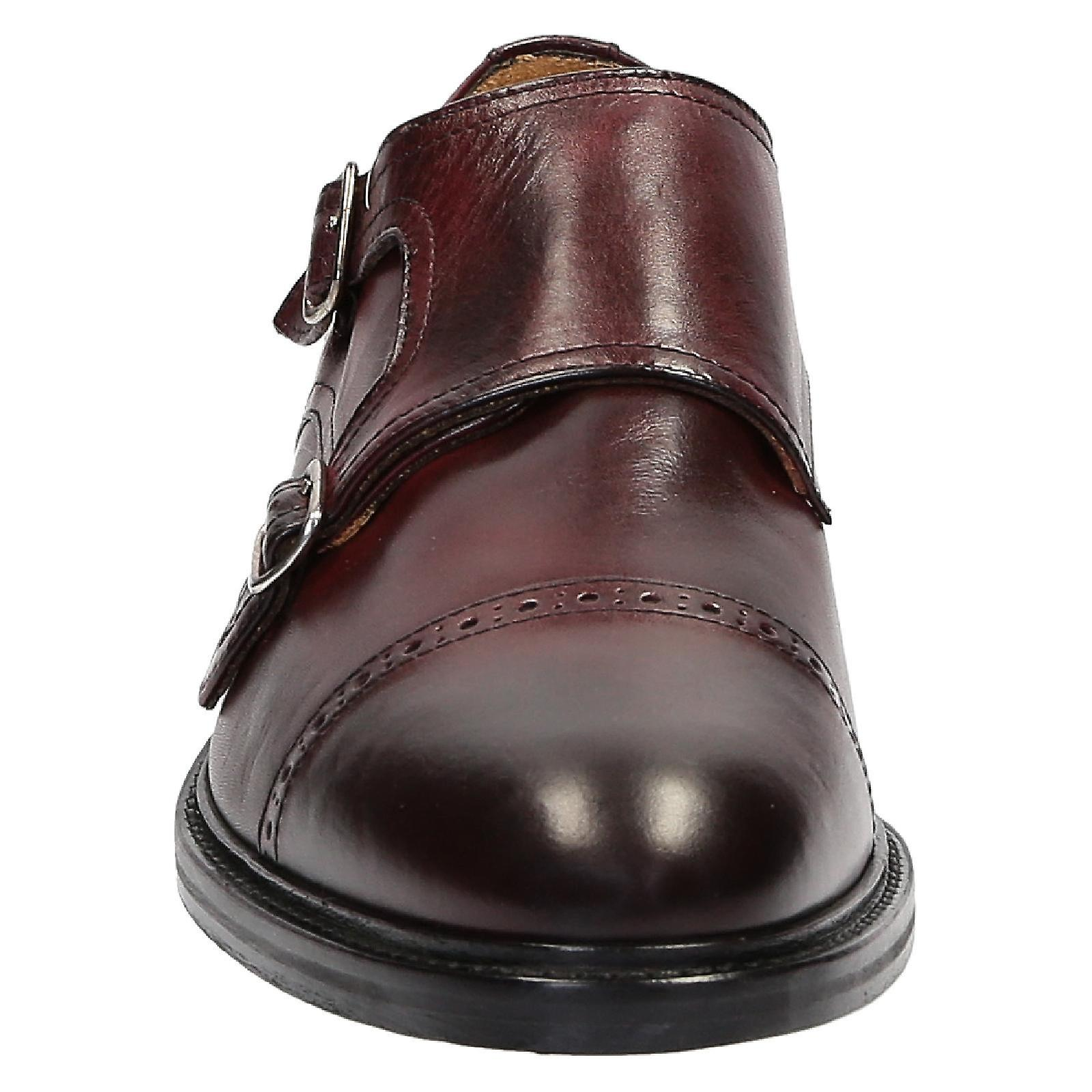 Handmade double monk monk monk strap Chaussure s in burgundy leather | Expédition Rapide