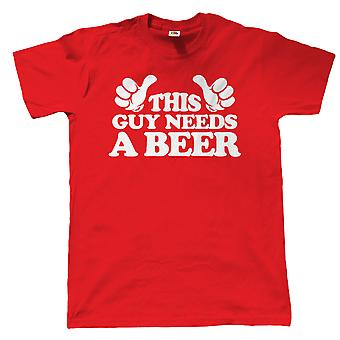 This Guy Needs A Beer, Mens Funny T Shirt
