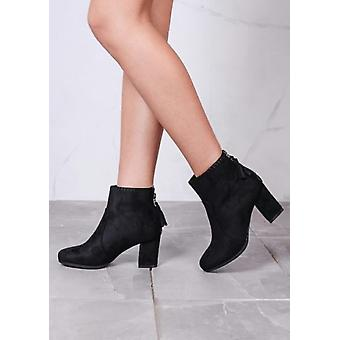 Suede Fringe Zip with Stitch Detail Heeled Ankle Boots Black