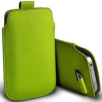 OnePlus One Slip In Pull Tab Faux Leather Pouch Case Cover (Green)