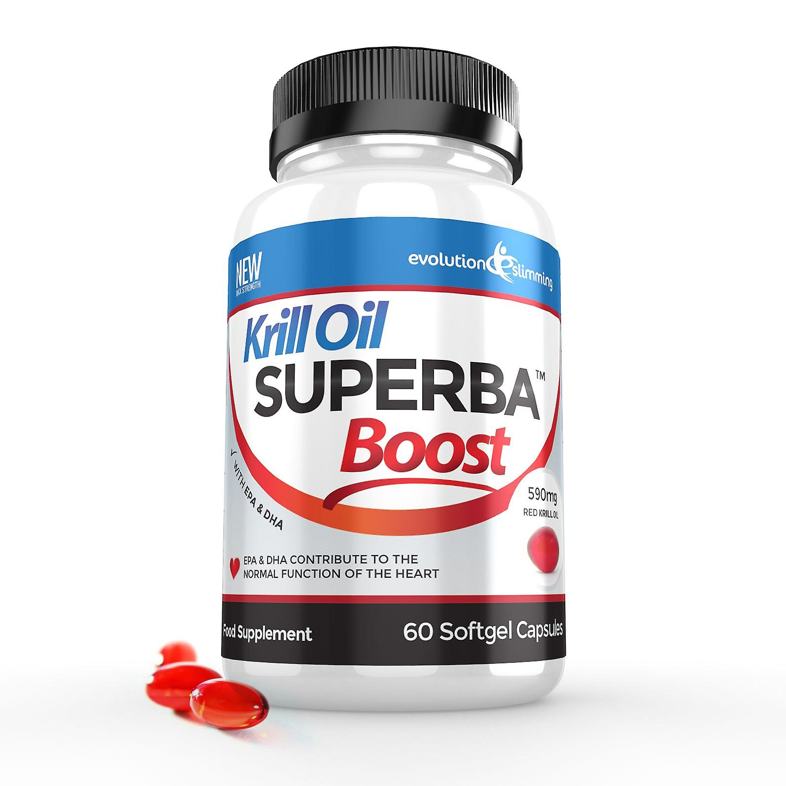 Krill Oil Superba™ Boost 590mg Krill Oil Softgels - 60 Capsules - Brain, Heart and Joint Health - Evolution Slimming