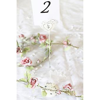 Shabby Chic Vintage Style Heart Wedding Table Number Holder Tall