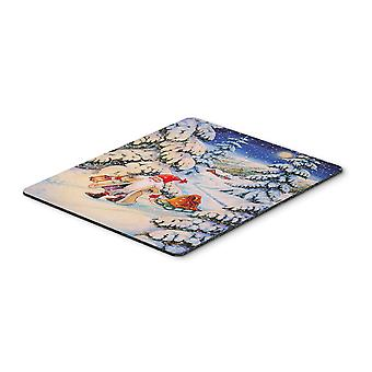 Christmas Gnome pulling a sled Mouse Pad, Hot Pad or Trivet