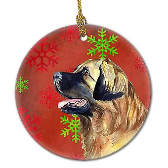 Leonberger Red Snowflake Holiday Christmas Ceramic Ornament LH9348