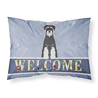 Standard Schnauzer Salt and Pepper Welcome Fabric Standard Pillowcase