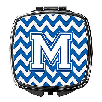 Carolines Treasures  CJ1045-MSCM Letter M Chevron Blue and White Compact Mirror