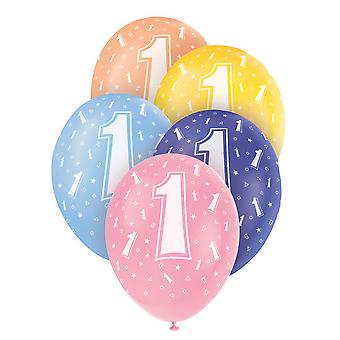 Unique Party 12 Inch Birthday Assorted Latex Balloons (Pack Of 5)