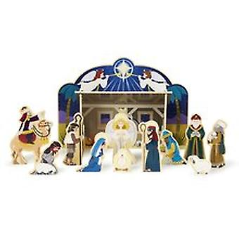 Melissa & Doug Classic Wooden Christmas Nativity Set With 4-Piece Stable and 11