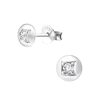 Round - 925 Sterling Silver Cubic Zirconia Ear Studs
