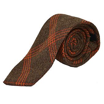 Biscuit Brown & Orange Birdseye Weave Check Tie