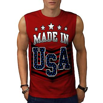 Made in USA RedSleeveless t-shirt | Wellcoda