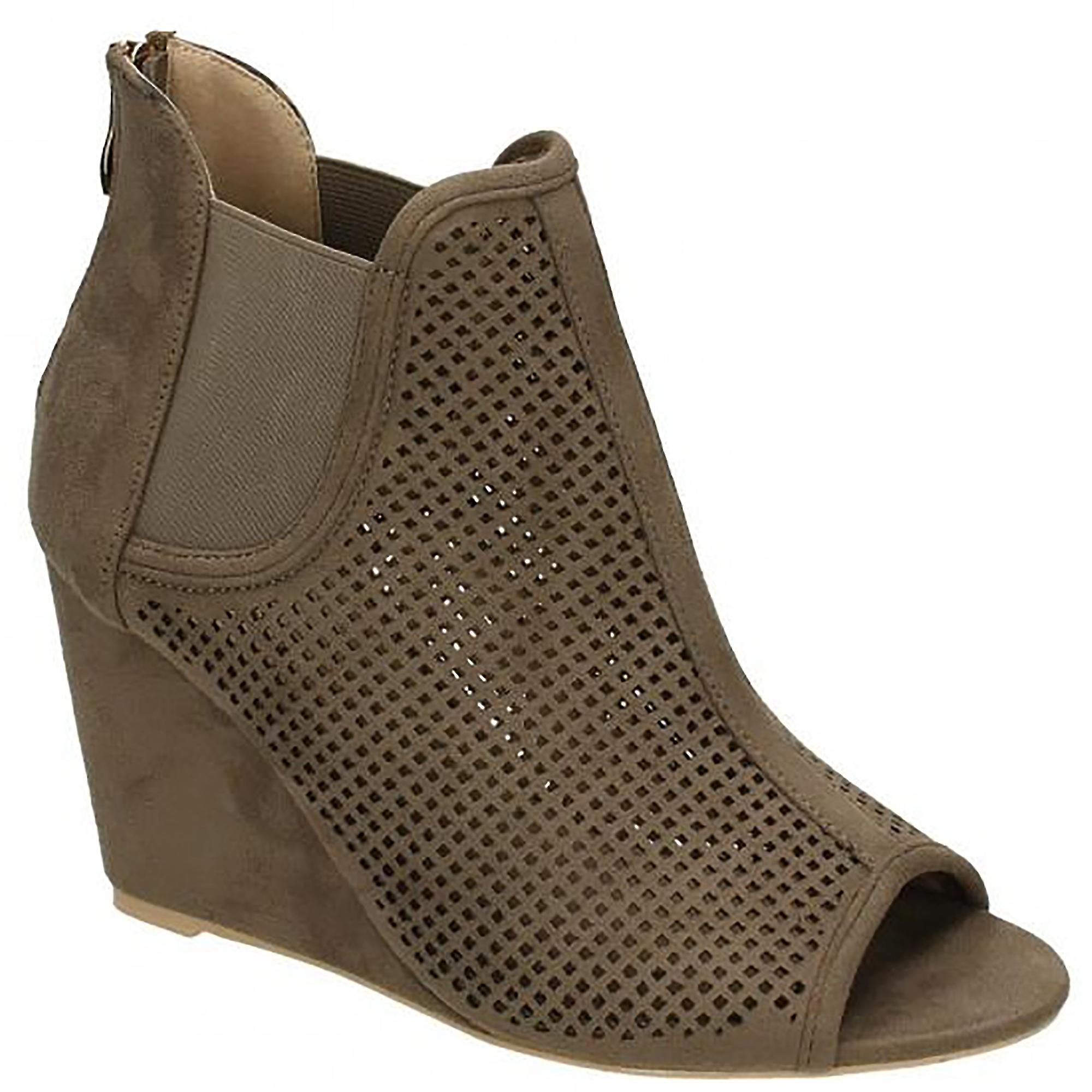 Punched Boots Wedge High Ladies Womens Peeptoe On Spot pnWASH6