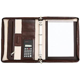 San Babila Grain Leather Zipped Folio With Retractable Handles Conference Folder