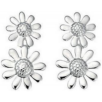 Beginnings Double Flower Drop Earrings - Silver