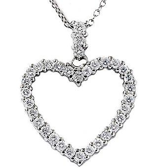 3/4ct Real Diamond Heart Shape Pendant 14K White Gold