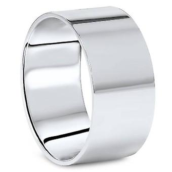 10MM Flat High Polished Wedding Band In 10K White Gold