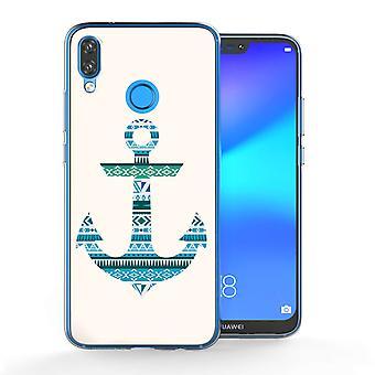 Huawei P20 Lite Azteekse blauwe anker TPU Gel geval